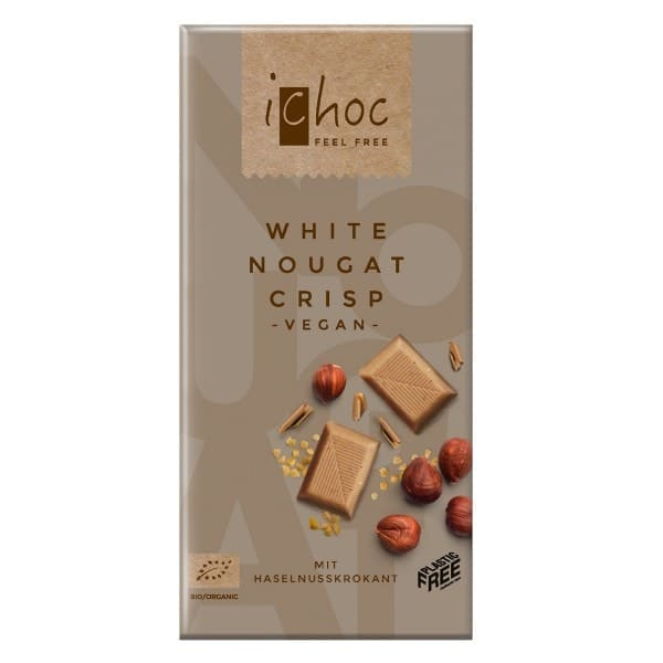 iChoc Organic WHITE NOUGAT CRISP Rice Drink Chocolate Couverture, 80g