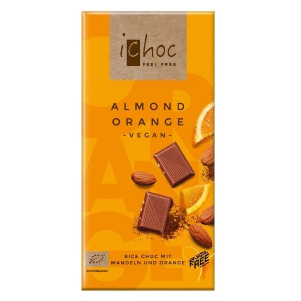 iChoc ALMOND ORANGE mit Mandeln und Orange, BIO, 80g