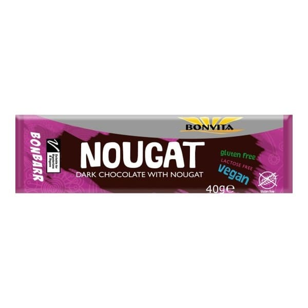 Bonvita Organic BONBARR Nougat bar with dark chocolate, 40g
