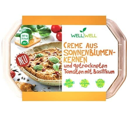 Well Well CREME FROM SUNFLOWER SEEDS and dried tomatoes with basil, 125g